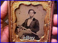 1/6 Plate Ambrotype Photograph Civil War Navy Man withTELESCOPE Confederate NEAT