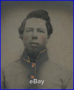 1/6 Plate Civil War Tintype Alabama Rebel Commutation Jacket Confederate