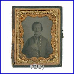 1/9 Plate Civil War Tintype of Somber Confederate Soldier