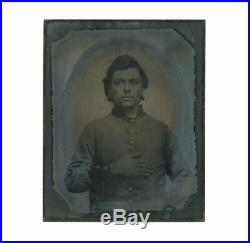 1/9 Plate Civil War Tintype of Young Confederate Infantryman John Ford