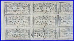 $100 Treasury Bond Sheet 6% Civil War Confederate States First Series 1864