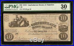 1861 $10 DOLLAR Hollings CONFEDERATE STATES CURRENCY CIVIL WAR NOTE T-28 PMG 30