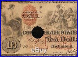 1861 $10 Dollar Bill Confederate States Currency CIVIL War Note Money T-22 Pmg