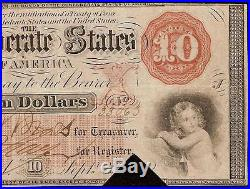 1861 $10 Dollar Bill Confederate States Currency CIVIL War Note Money T-24