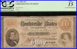 1861 $10 Dollar Bill Confederate States Currency CIVIL War Note Money T-24 Pcgs