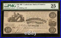 1861 $10 Dollar Bill Confederate States Currency CIVIL War Note Money T28 Pmg 25