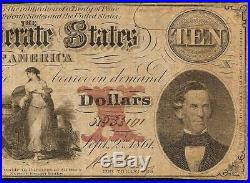 1861 $10 Dollar Bill Confederate States Currency CIVIL War Note Paper Money T-26