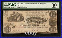 1861 $10 Dollar Bill Confederate States Currency CIVIL War Note T-28 Pmg 30