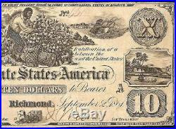 1861 $10 Dollar Confederate States Currency CIVIL War Cotton Picking Note T-29