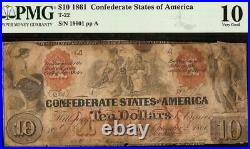1861 $10 Dollar Confederate States Currency CIVIL War Indian Note Money T-22 Pmg