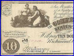 1861 $10 Dollar Confederate States Currency CIVIL War Note Old Paper Money T-28