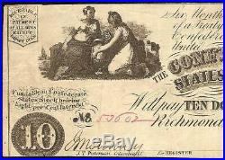 1861 $10 Dollar Confederate States Currency CIVIL War Note Paper Money T-28