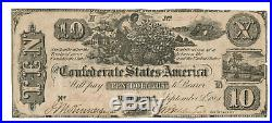 1861 $10 Dollar Confederate States Currency CIVIL War Note Paper Money T-29 Vf