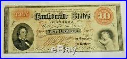 1861 $10 Richmond Confederate States of America Civil War Currency Note