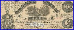 1861 $100 Confederate CIVIL War Currency T-13 Slaves Loading Cotton Vf+