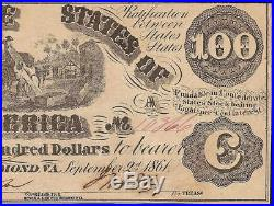 1861 $100 Dollar Confederate States Currency CIVIL War Note Paper Money T-13 Au+