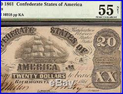 1861 $20 Bill Confederate States Currency CIVIL War Note Paper Money T-18 Pmg 55