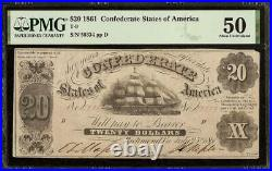 1861 $20 Confederate States Of America Currency CIVIL War Note Money T-9 Pmg 50