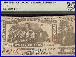 1861 $20 Dollar Bill Confederate States Currency CIVIL War Note Money T-20 Pmg