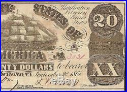 1861 $20 Dollar Confederate States Currency CIVIL War Note Old Paper Money T-18