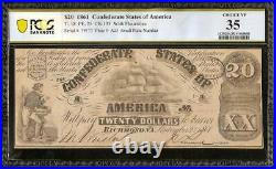1861 $20 Dollar Confederate States Currency CIVIL War Ship Note T-18 Pcgs 35
