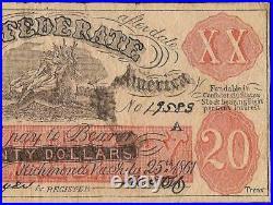 1861 $20 Female Riding Deer Smokin Indian Confederate State Bogus CIVIL War Note