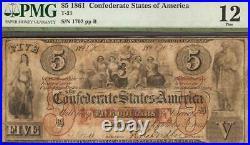 1861 $5 Bill Confederate States Currency CIVIL War Note Paper Money T-31 Pmg 12