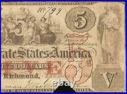 1861 $5 Confederate States Currency CIVIL War Note Money Only 58,860 Issued T-31
