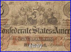 1861 $5 Confederate States Note CIVIL War Currency Old Paper Money T31 Pcgs