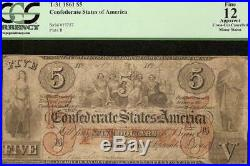 1861 $5 Confederate States Note CIVIL War Currency Under 59k Issued T-31 Pcgs