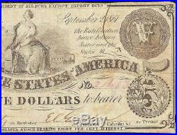 1861 $5 Csa Watermark Paper Confederate States Currency CIVIL War Note T-36 Pf-5