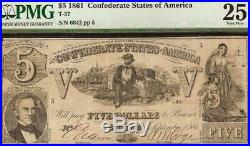1861 $5 Dollar Bill Confederate States Currency CIVIL War Note Better T-37 Pmg