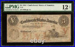 1861 $5 Dollar Bill Confederate States Currency CIVIL War Note Money T-32 Pmg 12