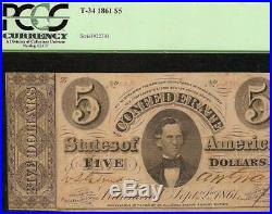 1861 $5 Dollar Bill Confederate States Currency CIVIL War Note Money T-34 Pcgs