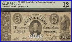 1861 $5 Dollar Bill Confederate States Currency CIVIL War Note Money T-34 Pmg