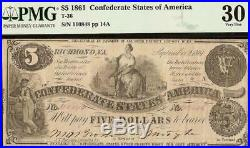 1861 $5 Dollar Bill Confederate States Currency CIVIL War Note Money T-36 Pmg 30