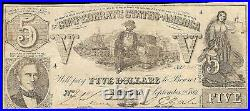 1861 $5 Dollar Confederate States Currency CIVIL War Note Old Paper Money T-37