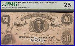 1861 $50 Dollar Bill Confederate Currency CIVIL War Note Paper Money T-8 Pmg Vf