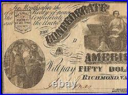 1861 $50 Dollar Bill Confederate States Currency CIVIL War Note Paper Money T-14