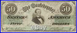 1861 $50 Dollar Bill Confederate States Currency CIVIL War Note Paper Money T-16
