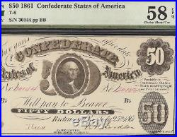 1861 $50 Dollar Bill Confederate States Currency CIVIL War Note T-8 Pmg 58