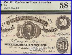 1861 $50 Dollar Bill Confederate States Currency CIVIL War Paper Note T8 Pmg 58
