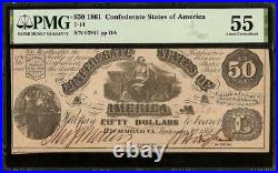 1861 $50 Dollar Confederate States Currency CIVIL War Note Money T-14 Pmg 55