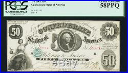 1861 $50 T8 Pcgs 58 Ppq Choice About New Confederate Currency CIVIL War Note