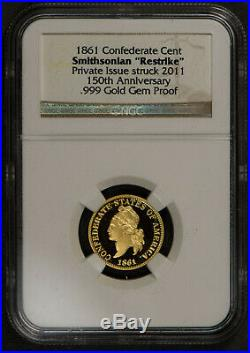 1861 CONFEDERATE CENT 4-Coin SMITHSONIAN 150th CIVIL WAR Set PLATINUM! #J991