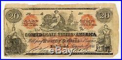 1861 CT-19 $20 The Confederate States of America (CTFT.) Note CIVIL WAR Era