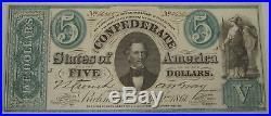 1861 CT-33 $5 Confederate Minerva Civil War Counterfeit Bank Note PC-233