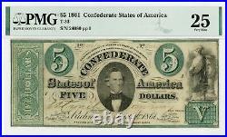 1861 T-33 $5 The Confederate States of America Note CIVIL WAR Era PMG VF 25
