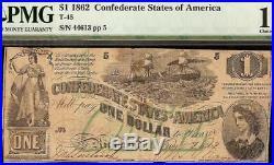 1862 $1 Dollar Bill Confederate States Currency CIVIL War Note Green T-45 Pmg