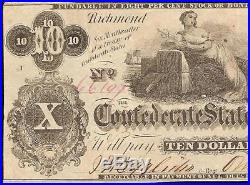 1862 $10 Enigmatical Issue Confederate States Currency CIVIL War Note Money T-46
